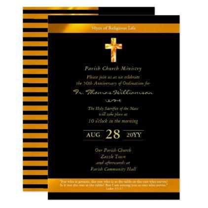 Priest ordination anniversary invites 50th gold invitations priest ordination anniversary invites 50th gold invitations custom unique diy personalize occasions stopboris Images