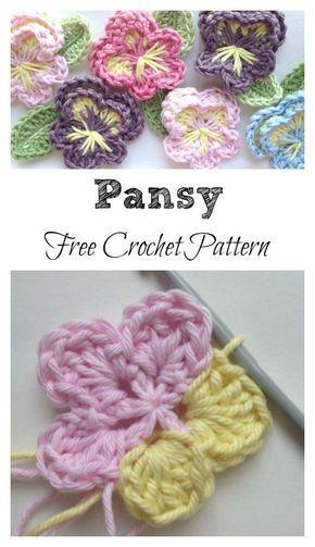 Easy Crochet Pansy Free Pattern | Blumen häkeln, Häkeln und Blumen