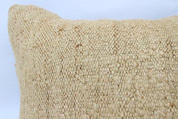 Handmade Kilim Pillow, 18x18 Navajo Pillow, Pillow Covers, Beige Pillow, Hemp Pillow, Flat Pillow, Y