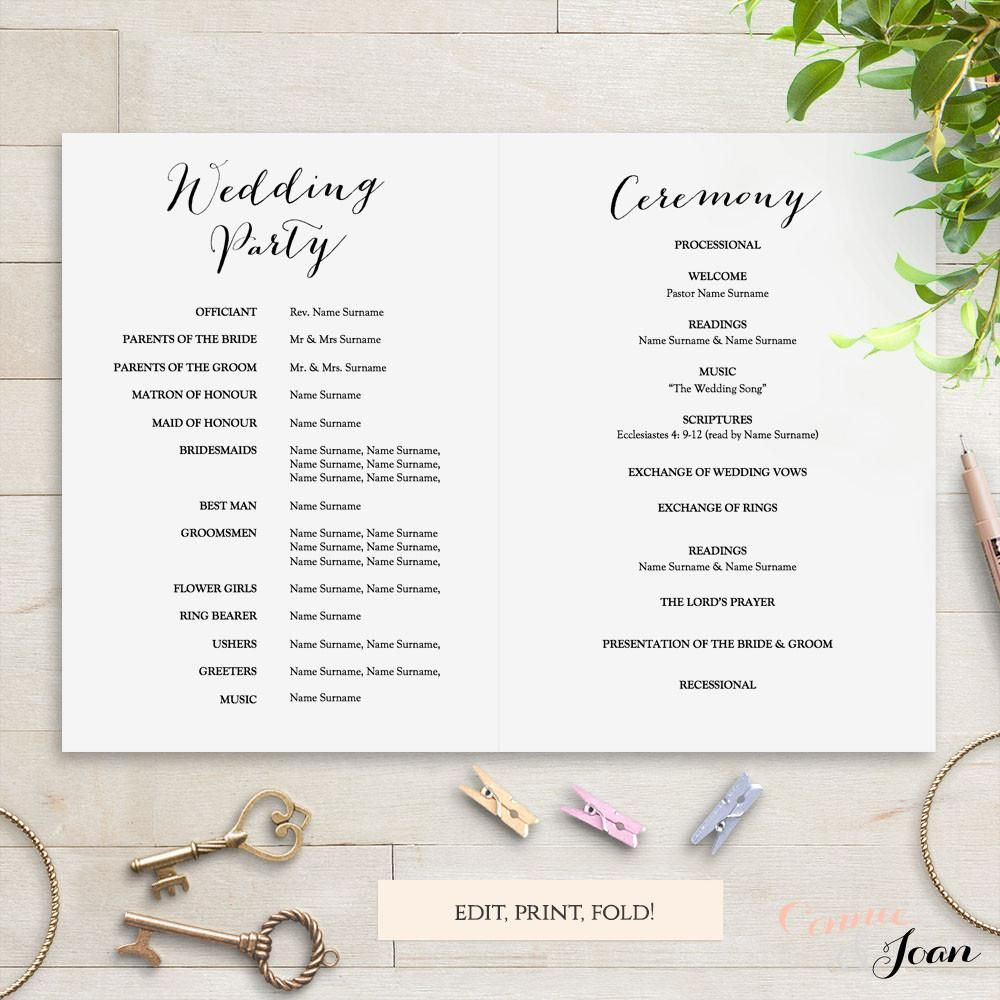 Mr & Mrs printable Wedding Order of Service program template. Folded ...
