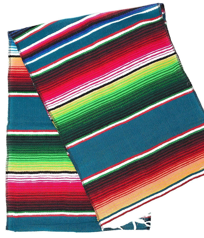 Mexican Falsa Blanket Serape Saltillo Multicolor Yoga Beach Park Extra Large