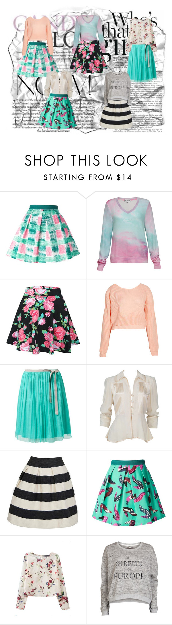 """""""cute + sporty = best outfit EVER!"""" by irinichi ❤ liked on Polyvore featuring Eggs, Wildfox, Boohoo, LIU•JO, Ossie Clark and Object Collectors Item"""
