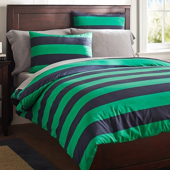 Rugby Stripe Duvet Cover, Twin, Navy/Bright Green Full/Queen $89