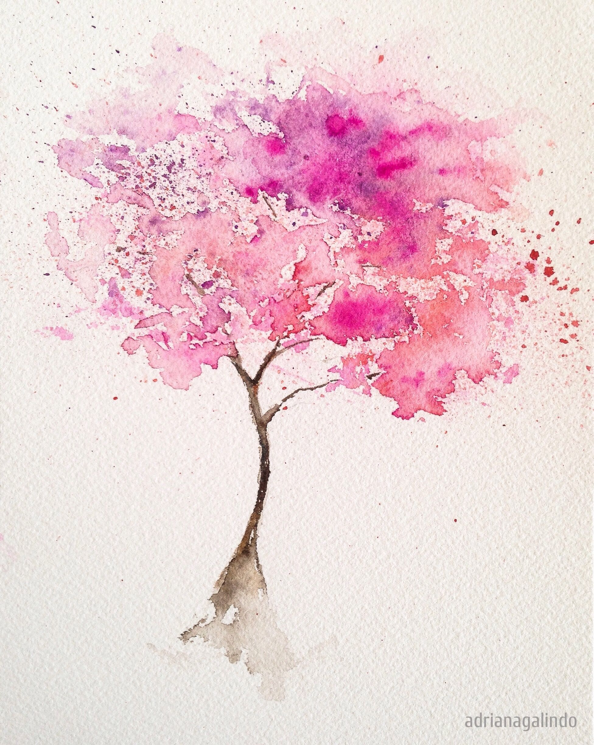 Rvore pink arvore 2 aquarela 21 x 15 cm pink tree n 2 for Pintura color albero