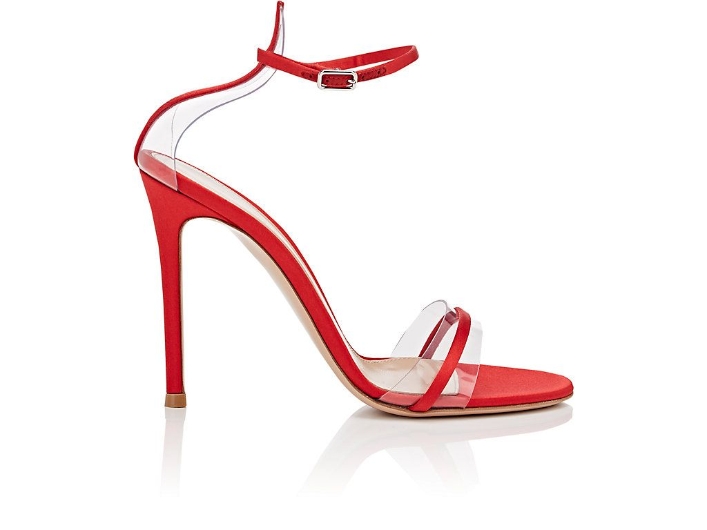 100mm Portofino Plexi Satin Sandals In Red Footwear Design Women Designer Shoes Sandals Stiletto Heels