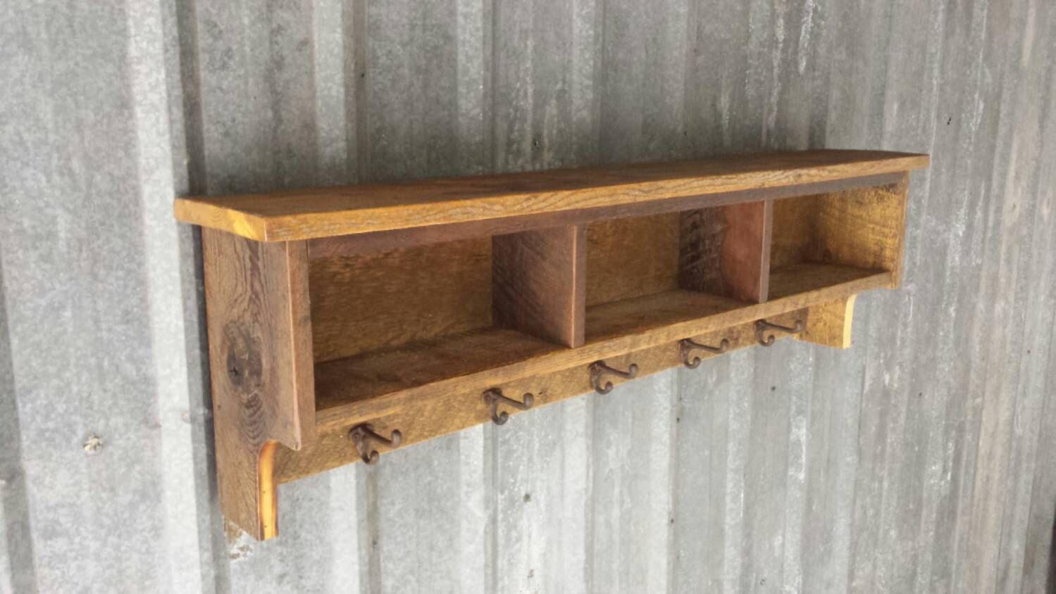 Barnwood Shelf With Hooks Google Search Reclaimed Barn Wood