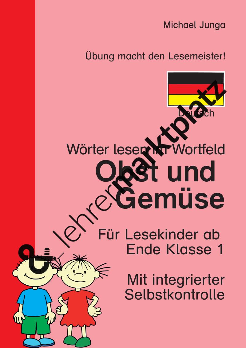 Wörter lesen im Wortfeld: Obst und Gemüse – Deutsch, D.a.F. / D.a.Z.