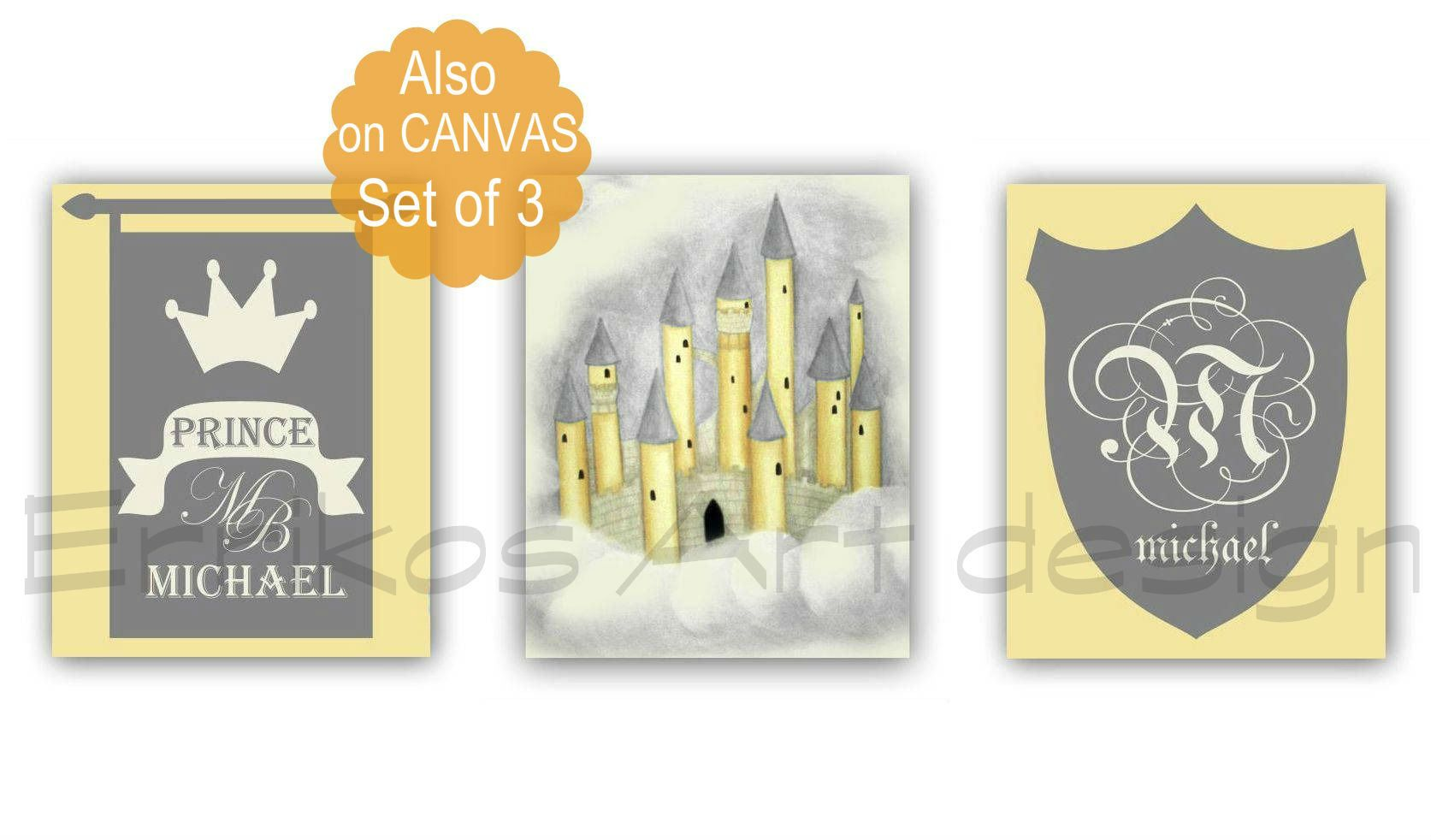 Little Prince Nursery Decor, Custom Name, Initials, Castle Wall Art ...