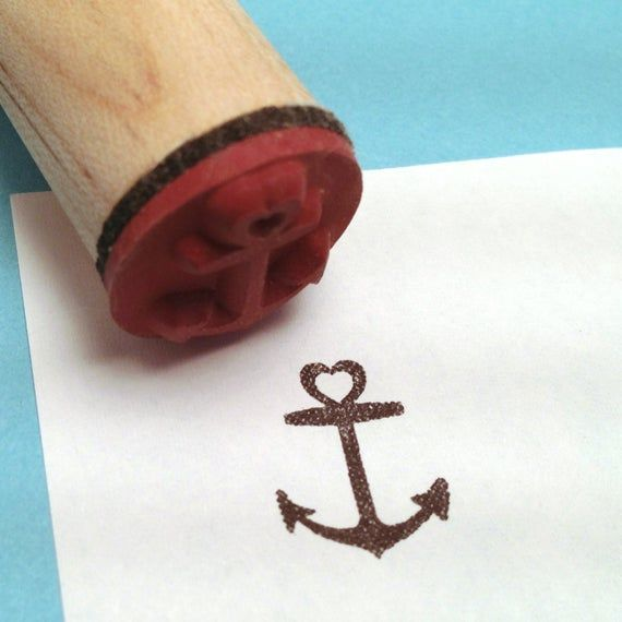 Heart Anchor Rubber Stamp  Pirate  Nautical  Tattoo  | Etsy