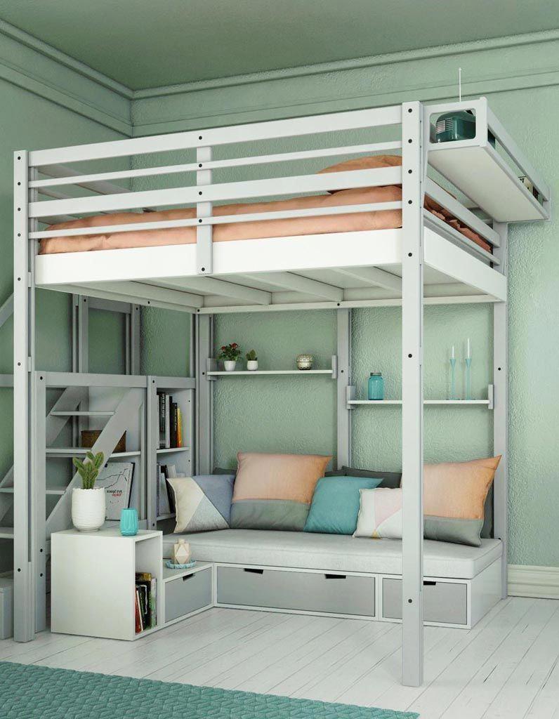 Loft bed with desk queen  Installer une partie salon sous un lit en mezzanine