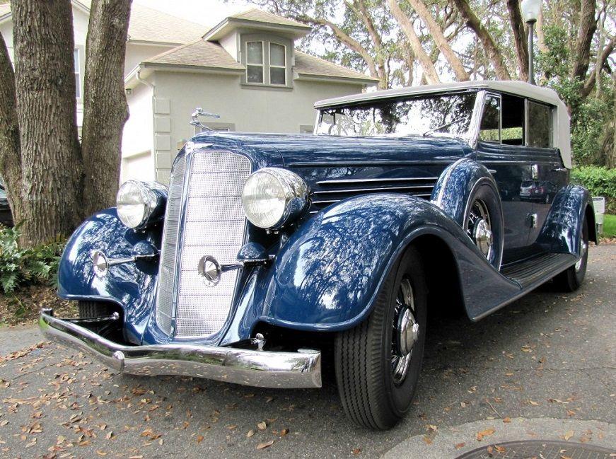 1934 Buick 96 Series Convertible Sedan, Dark Blue with White Soft ...