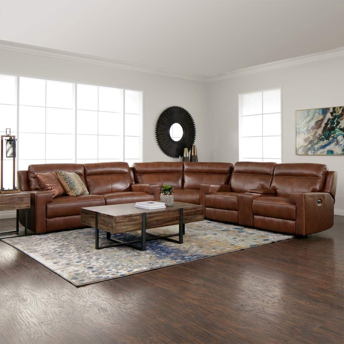 Glasgow Leather 3pc Power Reclining Sectional Power Sofa Wedge