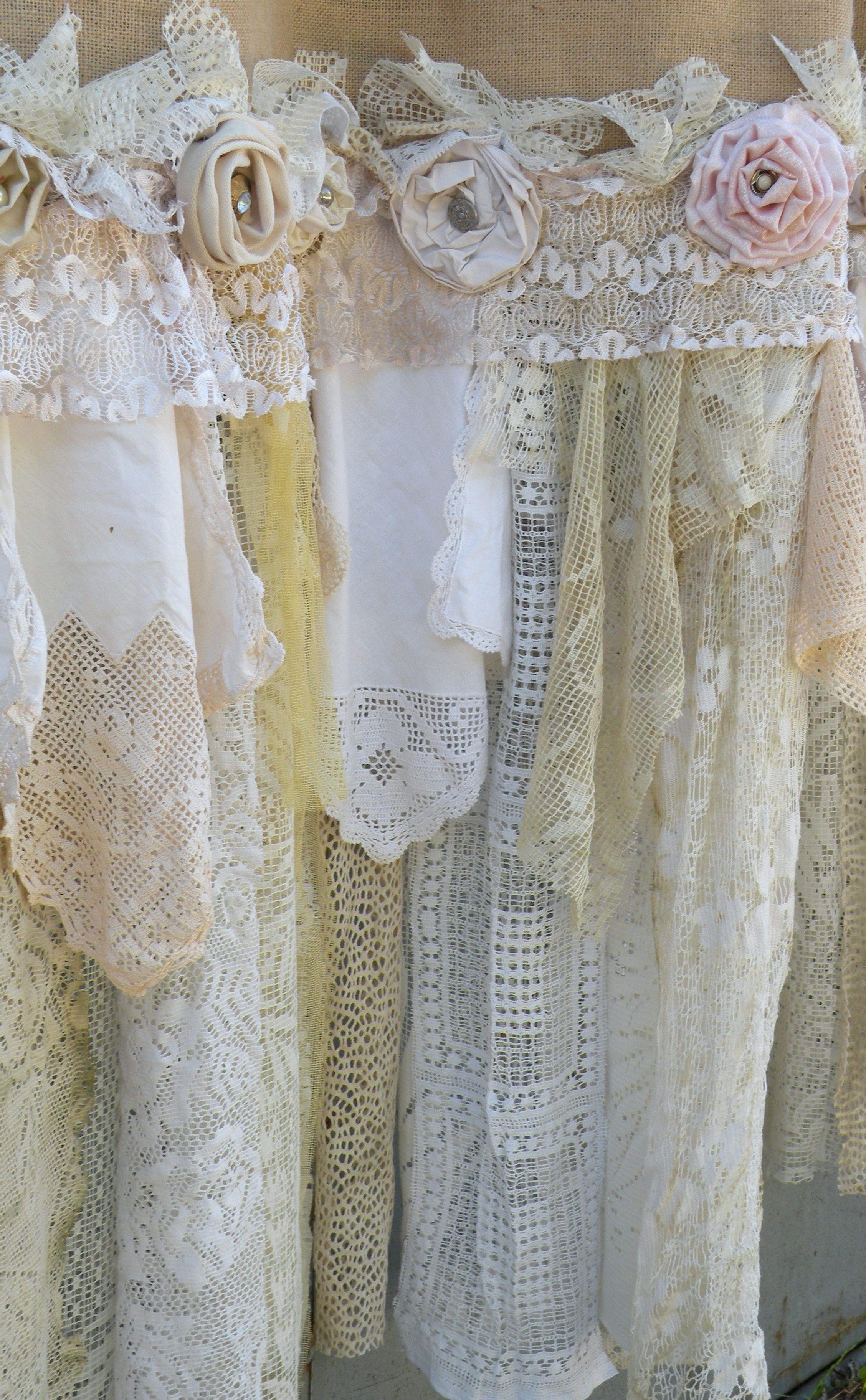 Burlap Vintage Lace Curtains Drapes Panel Boho Made To Order Etsy Vintage Lace Curtains Shabby Chic Curtains Rustic Shabby Chic Decor