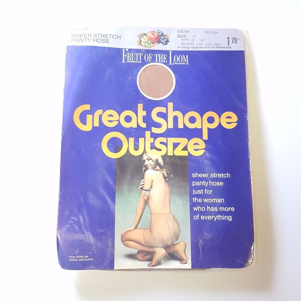 Vintage Panty Hose Fruit Of The Loom Queen Size 1x Blush Nylon Usa