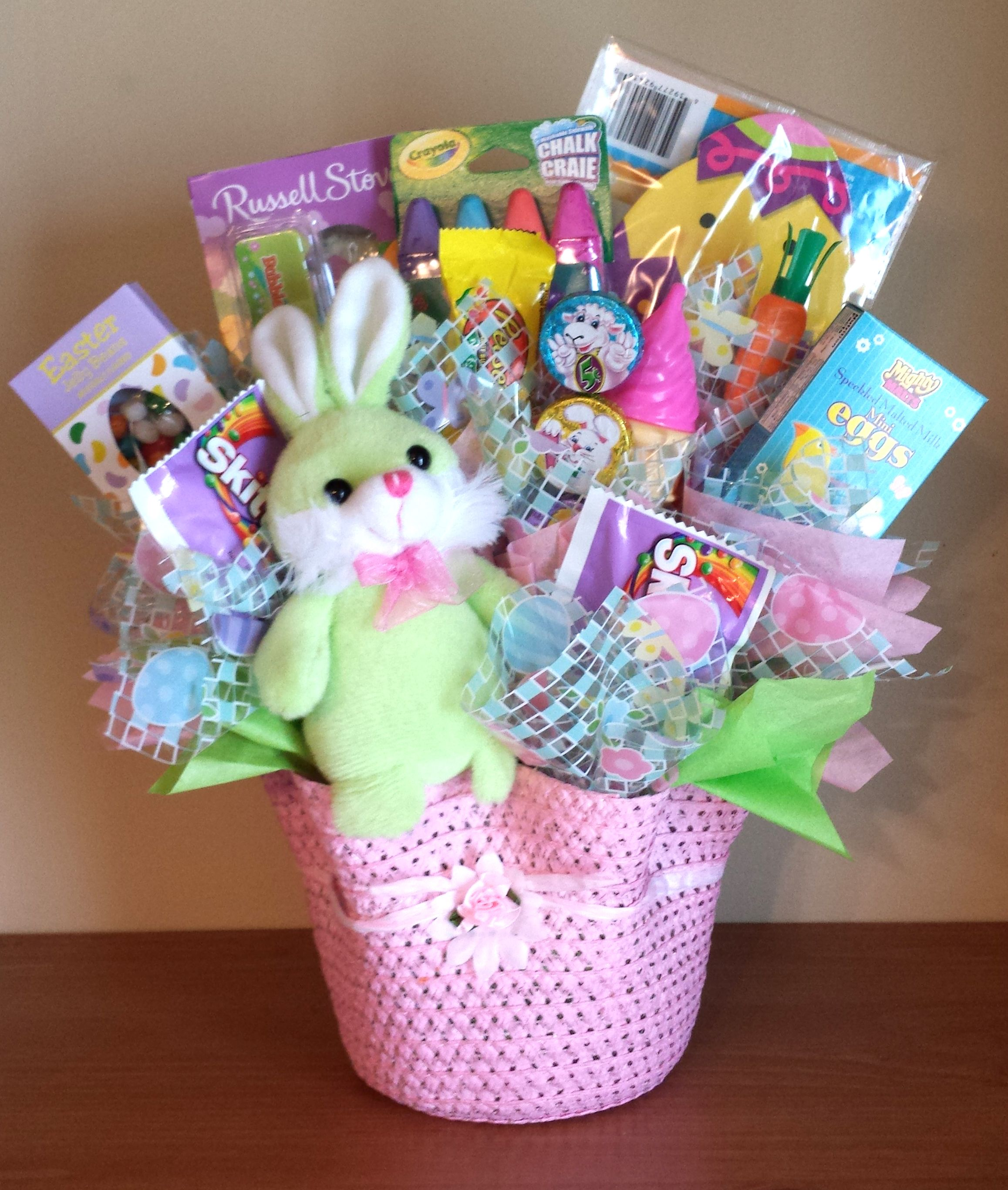 Easter basket candy bouquet for girl candy bouquets and more ideas easter basket candy bouquet for girl negle Choice Image