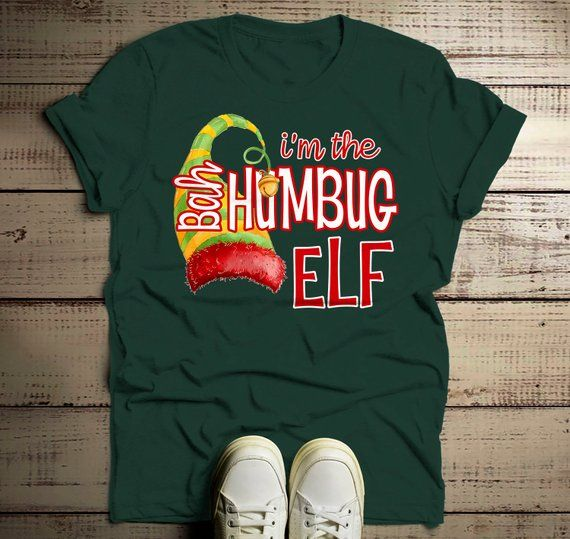 7a5512eb Men's Funny Elf T Shirt Bah Humbug Matching Christmas Shirts Graphic Tee  Watercolor