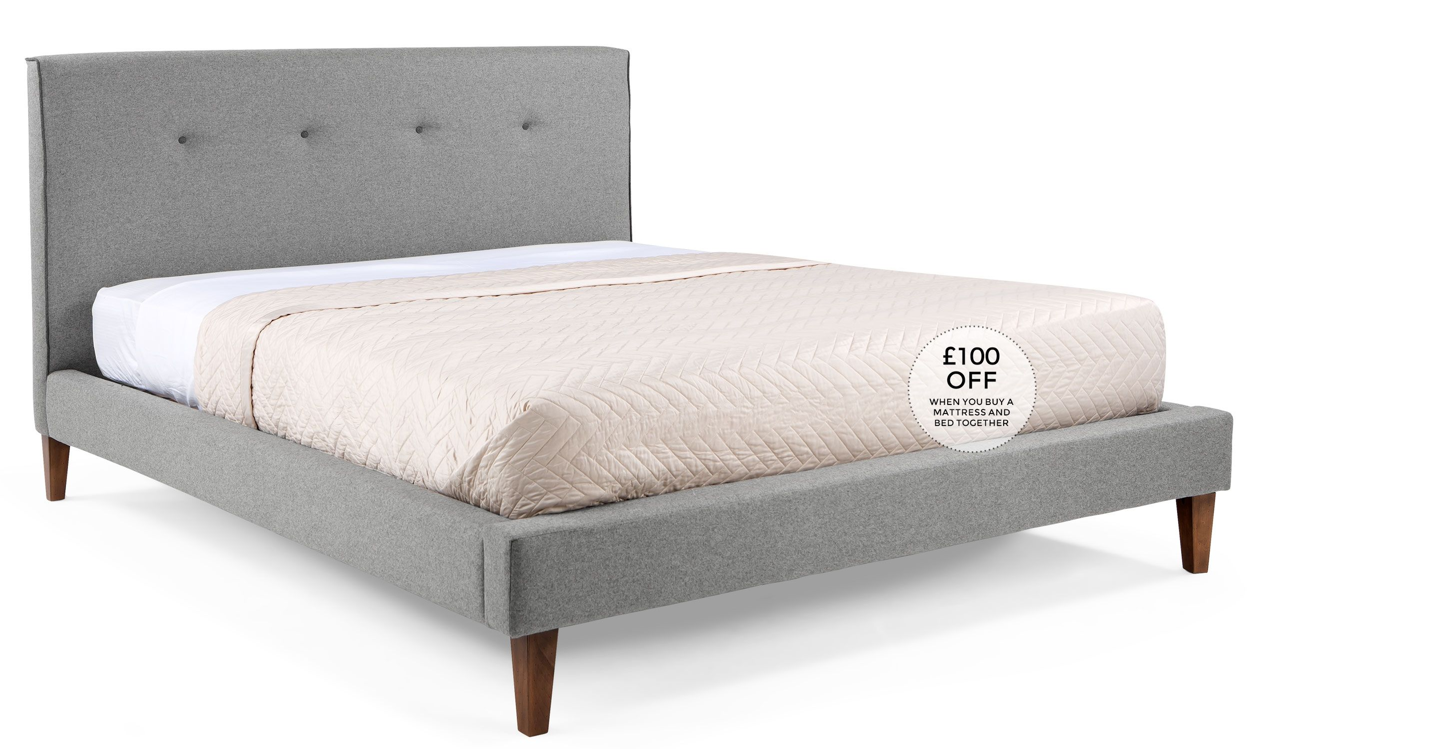 Capri 160cm X 200cm Euro King Size Bed Wolf Grey Bed King Size Bed Frame King Size Bed
