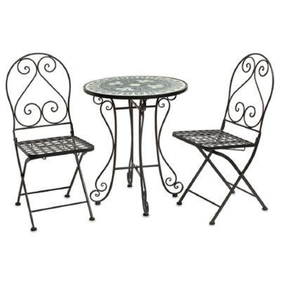 Mosaic Table With Folding Chairs