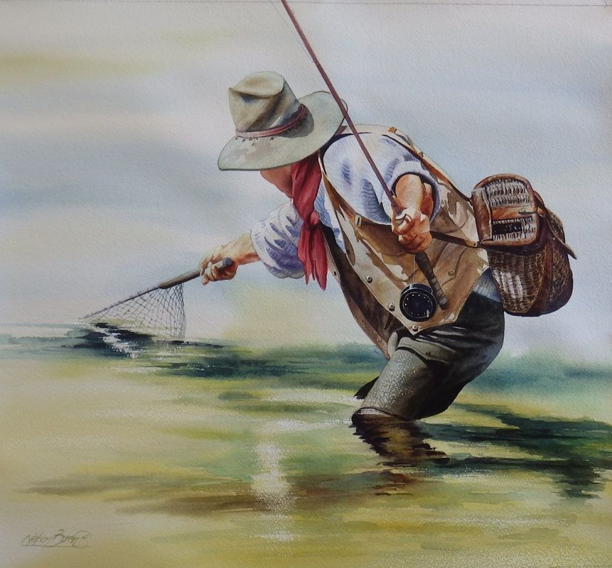 Original Watercolor Paintings Fly Fishing Cowboy Art Nelson
