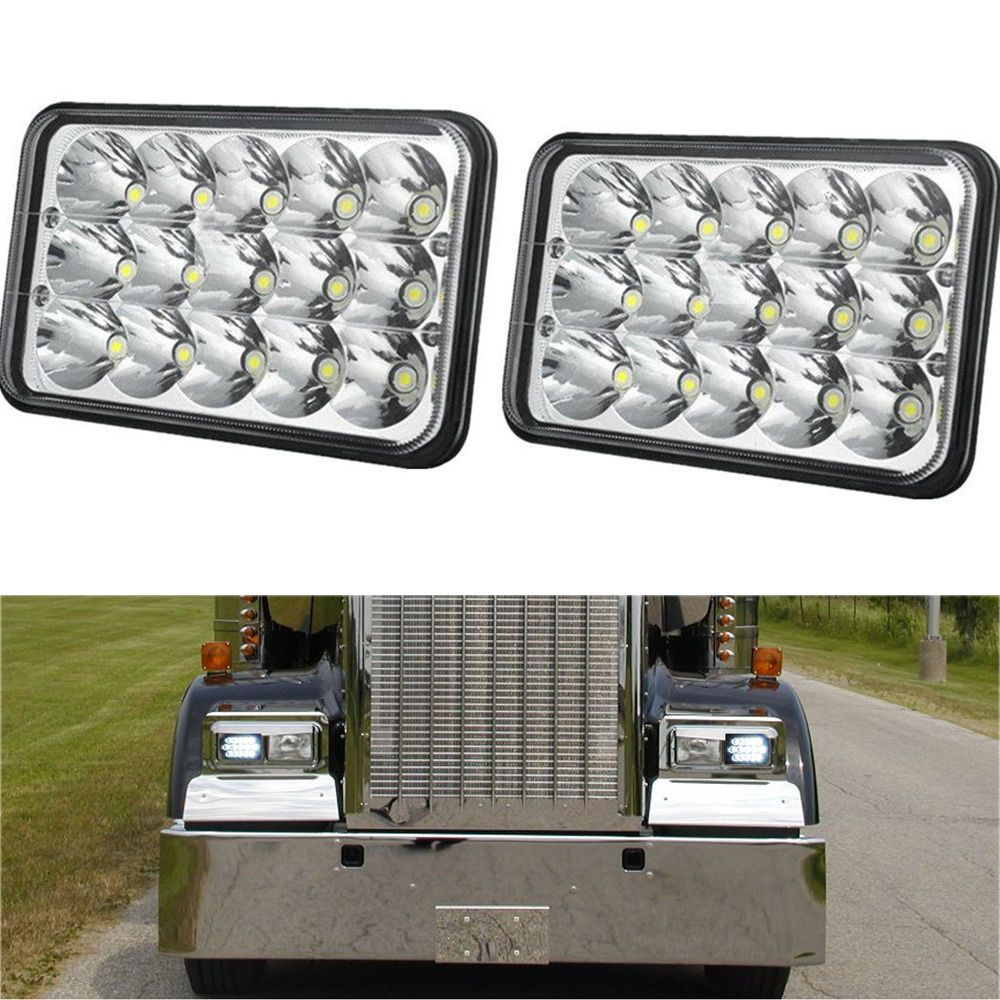 pair 4x6 sealed beam cree led headlight bulb for peterbilt 378 357 379 kenworth turbo [ 1000 x 1000 Pixel ]