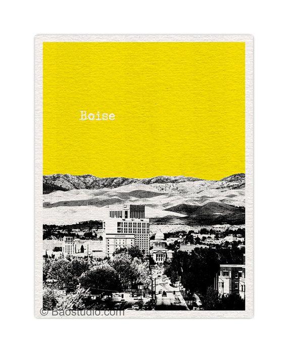 Boise Idaho Skyline Art Print 8x10 World Traveler by ...
