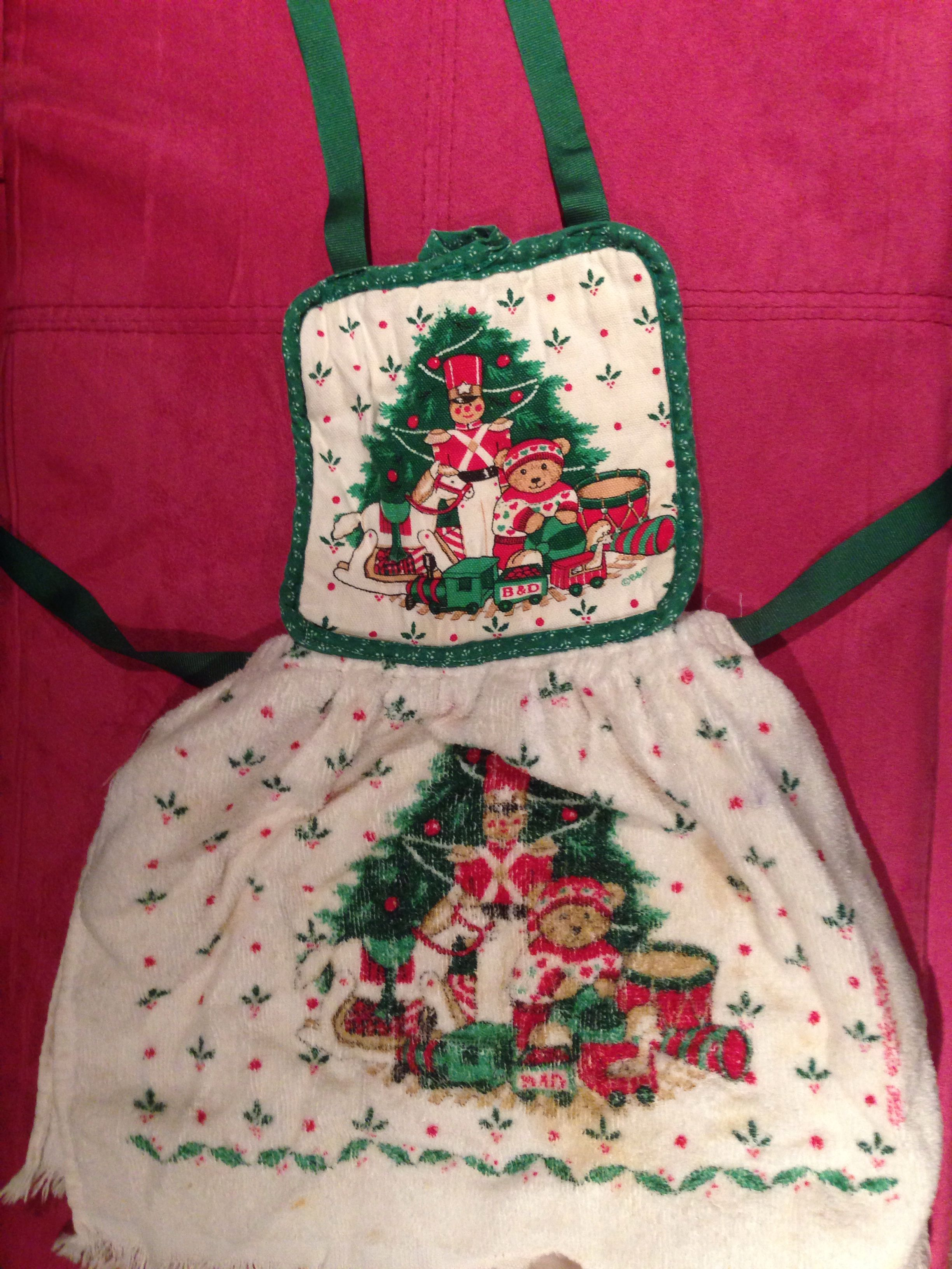 Little girl apron made out of ribbon, a hot pad, and a matching towel.