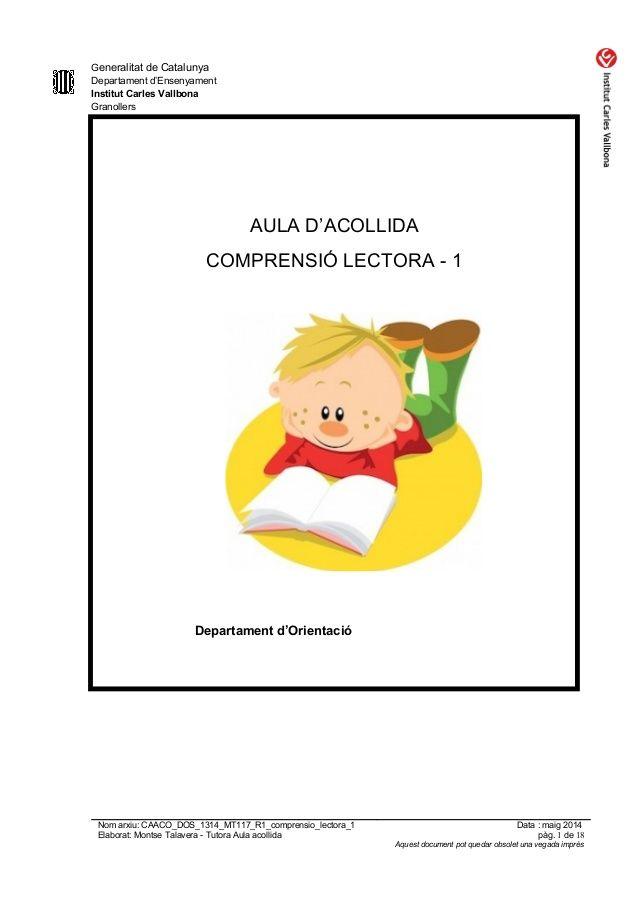 Caaco Dos 1314 Mt117 R1 Comprensio Lectora 1 Provisional Comprensión Lectora Estrategias Para Enseñar A Leer Lectura De Comprensión