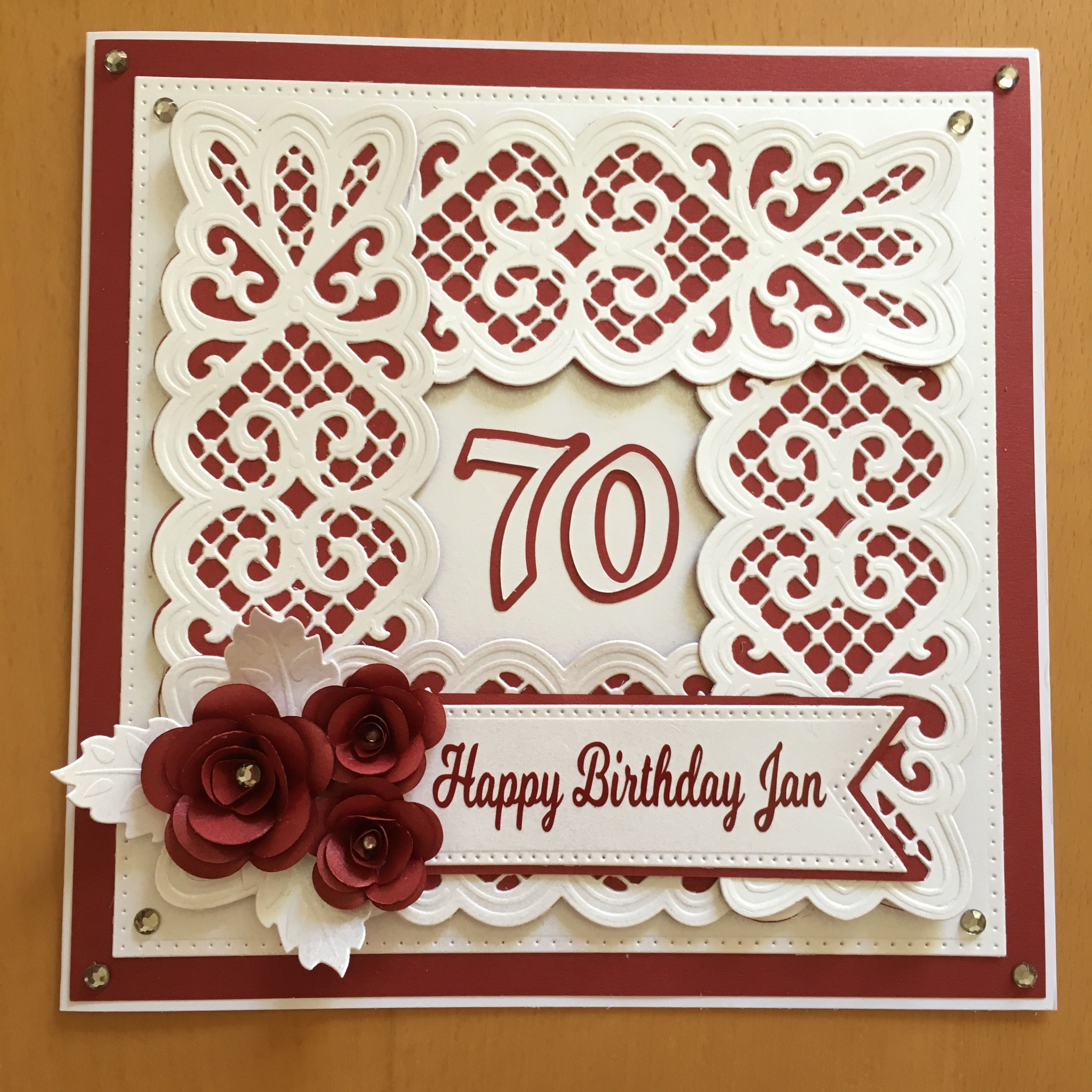 A 70th Birthday Card Made Using Sue Wilson Dies And A Silhouette