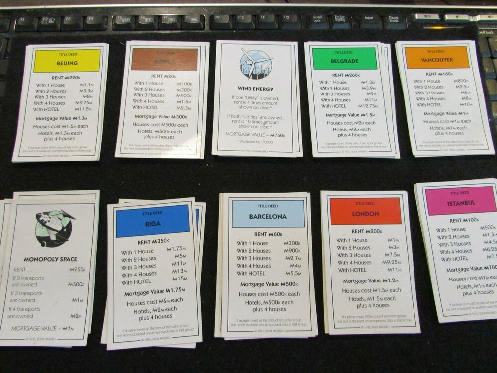 Please choose: MONOPOLY PROPERTY CARDS INDIVIDUAL HASBRO TRADITIONAL 2008