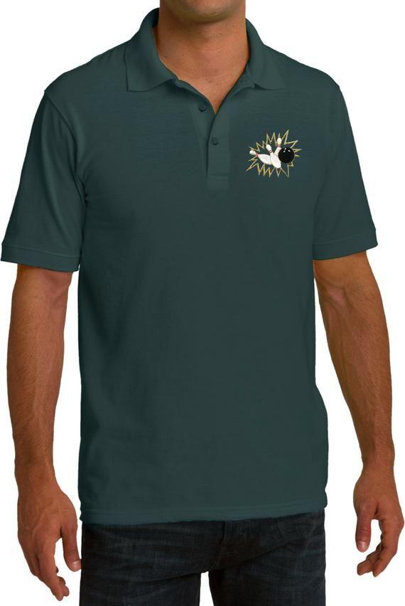 Polo Crashing Pins Print T Shirt Bowling Pocket Men's Tee Pique ARLj354