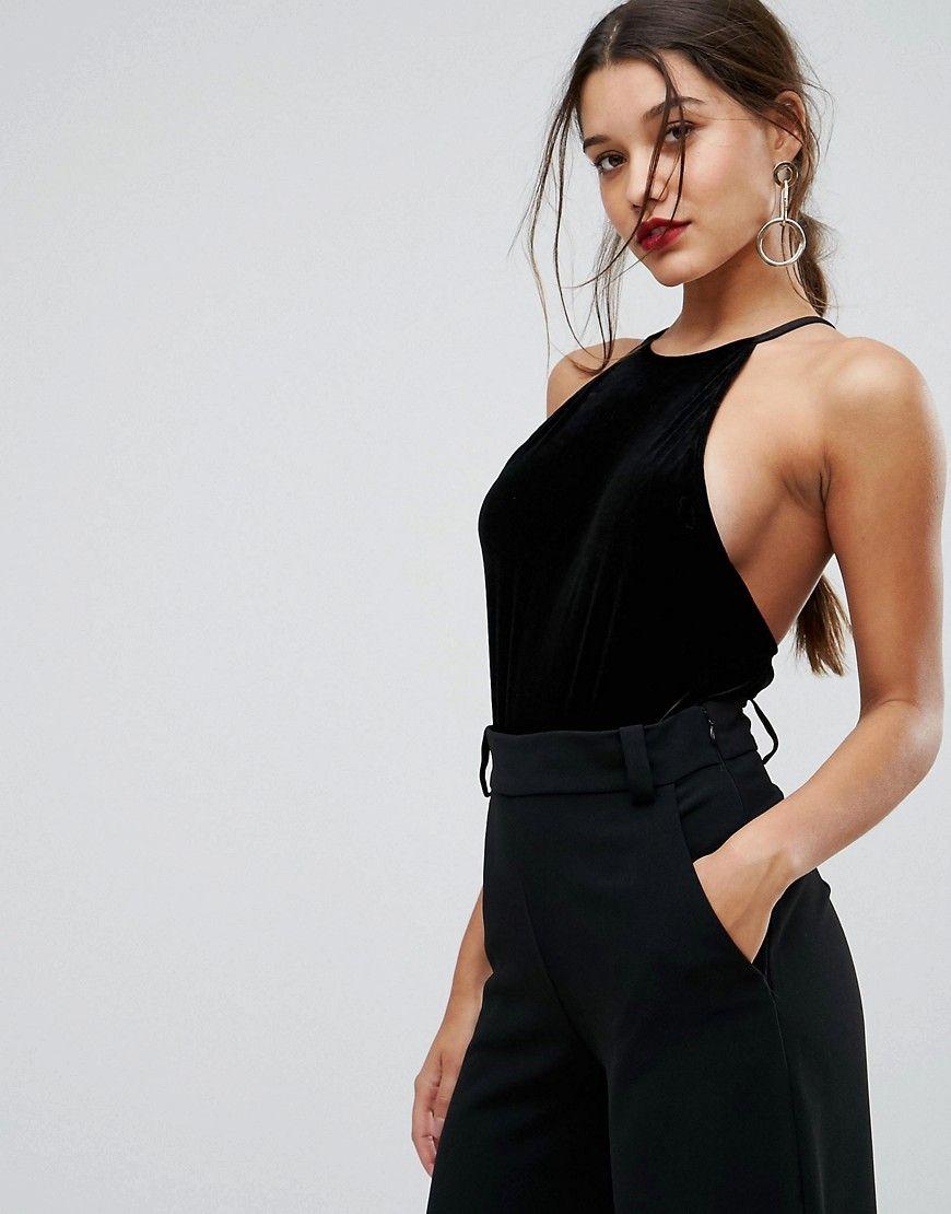 48f7d4ee77 Ivyrevel Velvet Cami Bodysuit With Low Back - Black