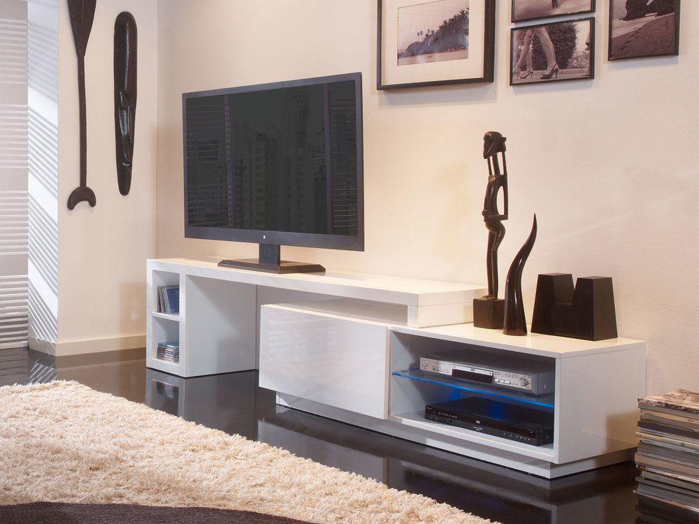 meuble tv bas extensible en bois laqu avec led longueur 160286cm galston - Meuble Tv Bas Avec Led