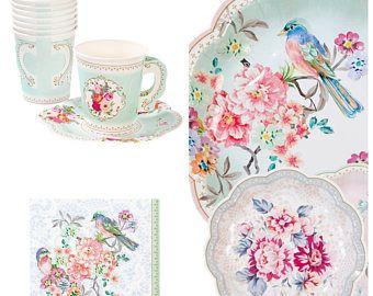 Vintage Look Tea Party Tea Party Paper Plates Garden Tea Party Plates Set Vintage Supplies Blush We Tea Party Garden Tea Party Paper Plates Party