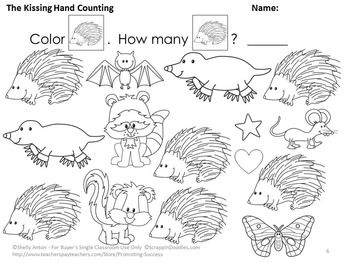 The Kissing Hand Math Worksheets, Kindergarten Counting