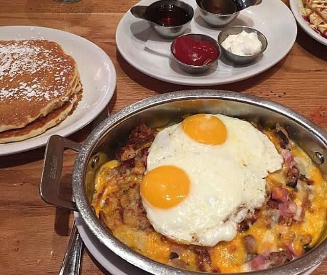 Breakfast hash bake (with bacon and cheese) with buttermilk pancakes and eggs. (OC)(640x540)