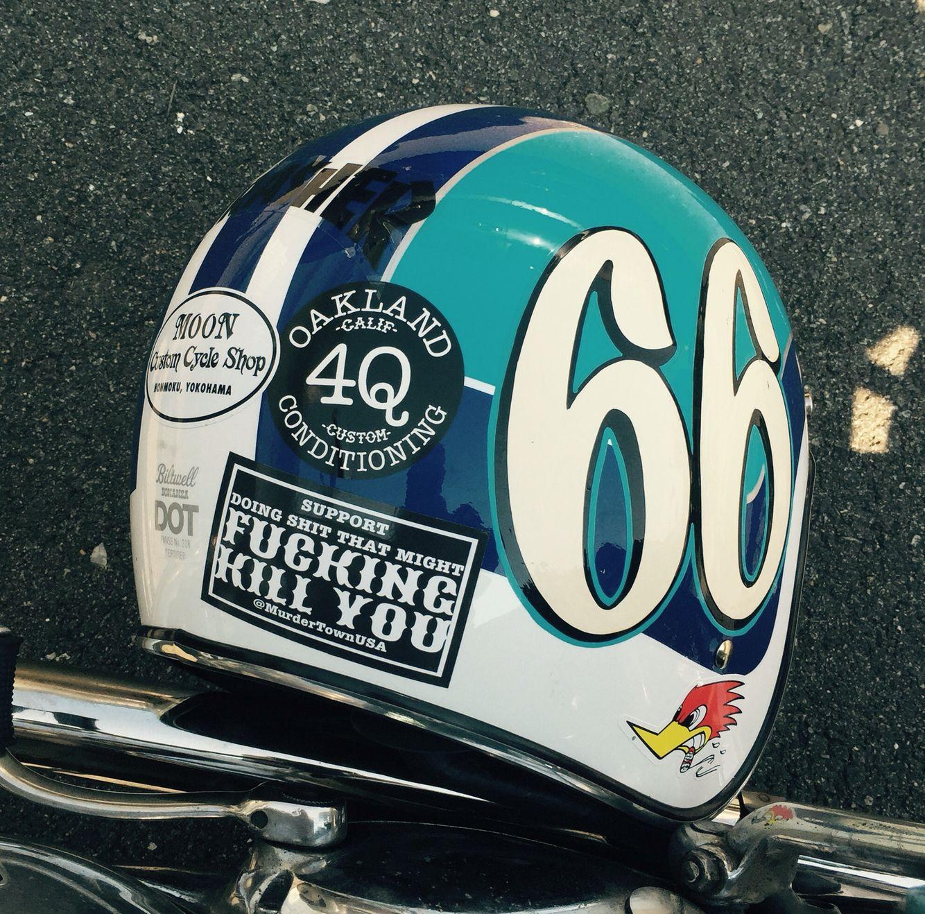 Minus The Profanity Sticker Helmet Vintage Helmet Bobber Helmets