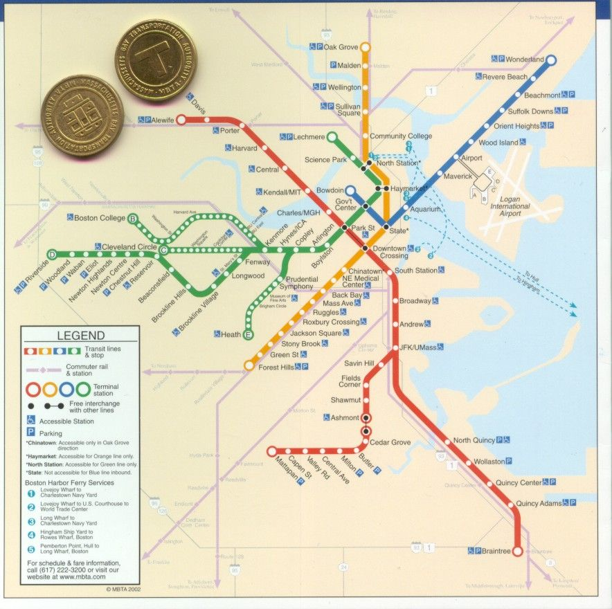 MBTA Map And Tokens When Did We Have Tokens Just Because - Boston massachusetts us map