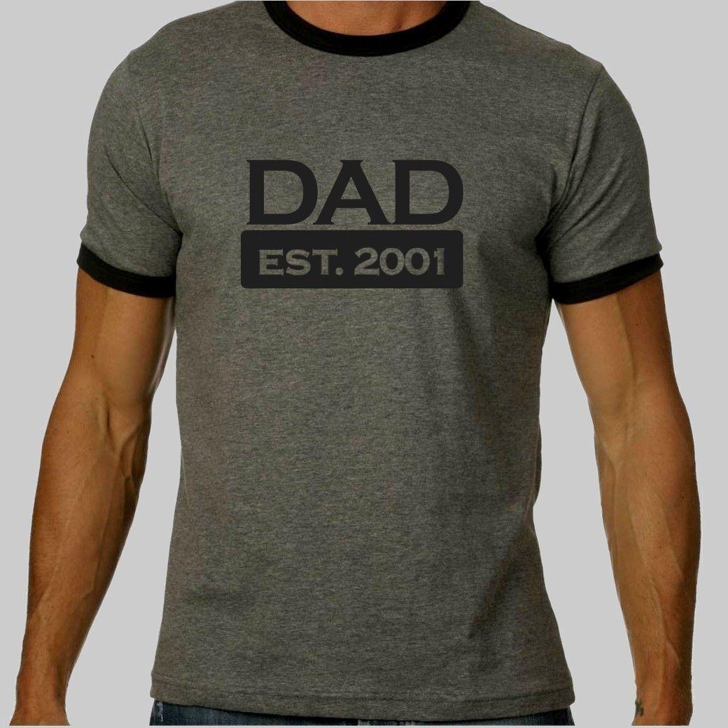 Daddy shirt - daddy est. xxxx (any year) custom ringer style Tshirt ...