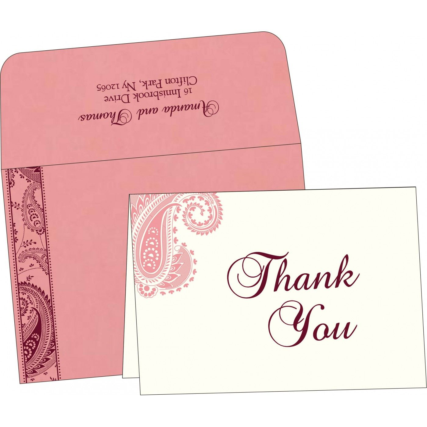 Pink matte paisley themed - screen printed wedding card : i-8250f