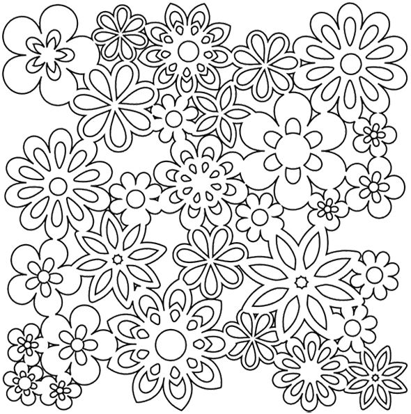 Gathered Flowers Coloring Page- Scherenschnitte perhaps