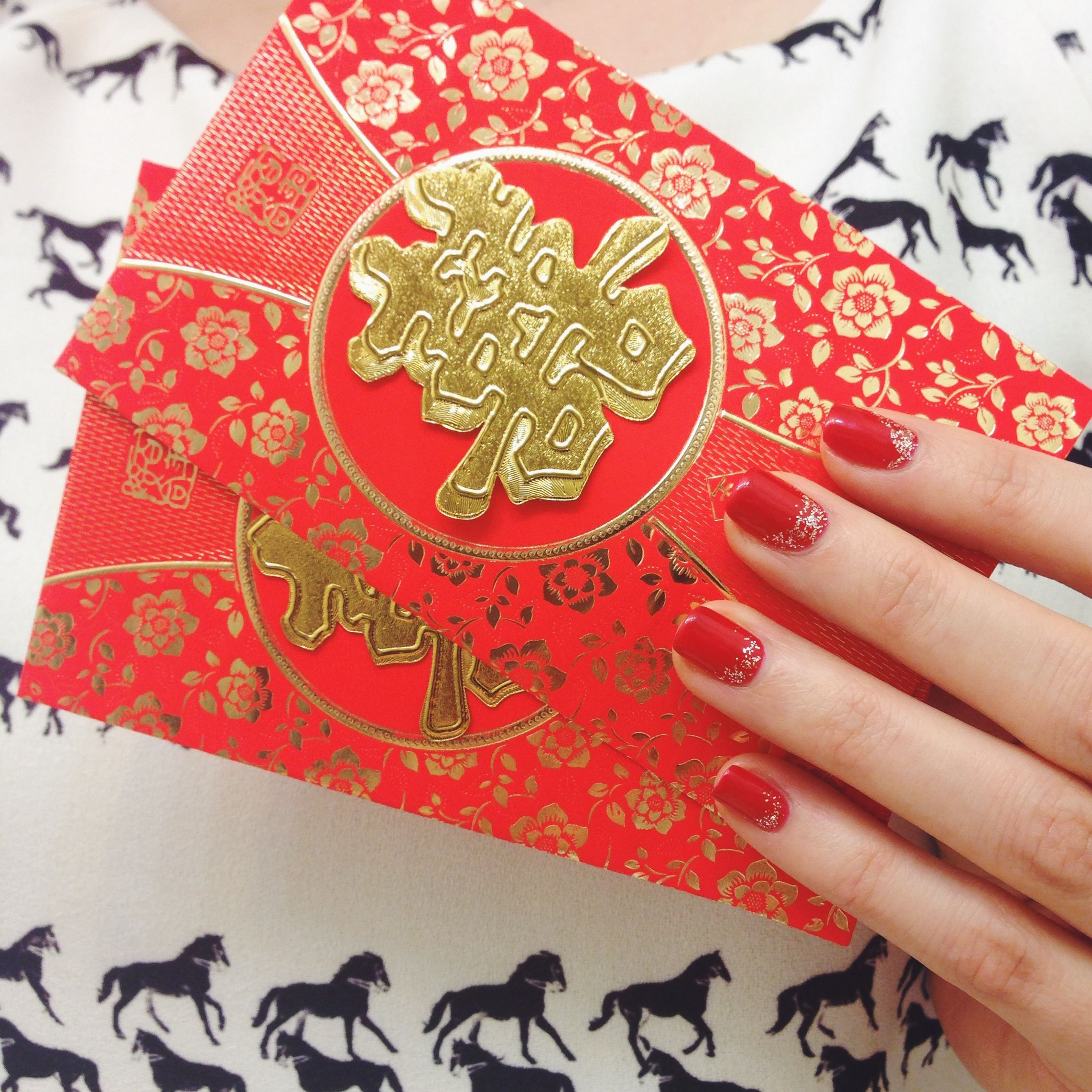 Simple Nail Art For Chinese New Year: Chinese New Year Nails 2014. OPI Big Apple Red.