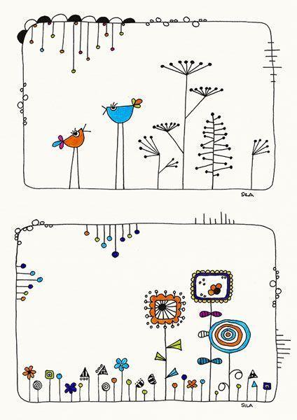 Photo of Birds-talk and Garden, Illustration, Zeichnung, Drawing, Print, Karten, Cards