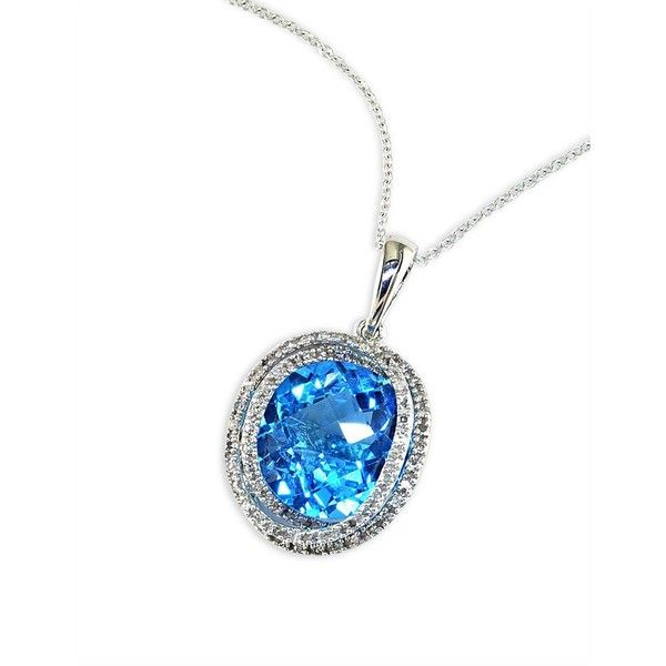 Effy 14 Kt. White Gold Diamond-Pava Blue Topaz Pendant Necklace ($709) ❤ liked on Polyvore featuring jewelry, pendants, blue diamond jewelry, white gold jewelry, blue jewelry, blue topaz pendant necklace and fine jewellery