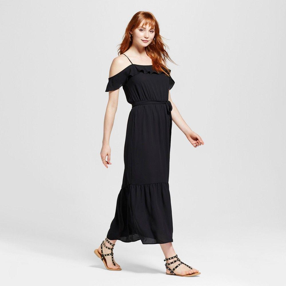 Womenus cold shoulder ruffle dress black xl mossimo ruffle dress
