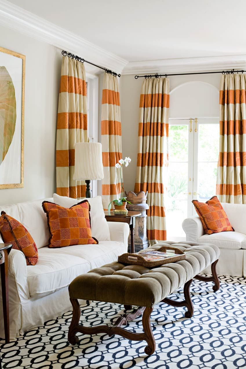 Orange Striped Curtains With Blue Patterned Rug Really Love The Stripes