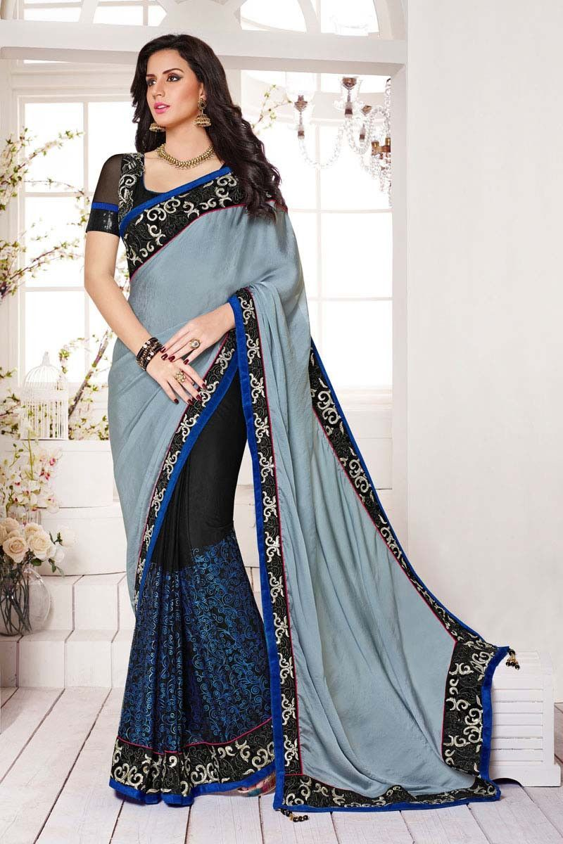 41e93db6c Description  Buy grey shimmer wedding saree with best price at Variation.  Huge collection of designer sarees online shopping