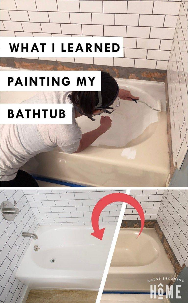 How To Paint A Bathtub Painting Bathroom Tiles Bathtub Tub