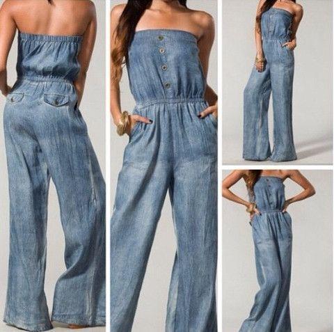 Strapless Blue Jean Jumpsuit Fondren S Fashion House Pocket Jumpsuit Jumpsuit Blue Jean Jumpsuit