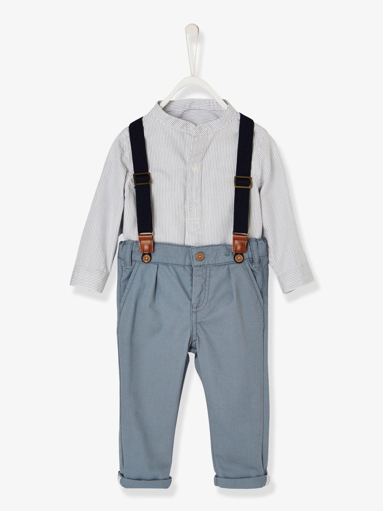 un pantalon  u00e0 porter avec ou sans bretelles et une chemise