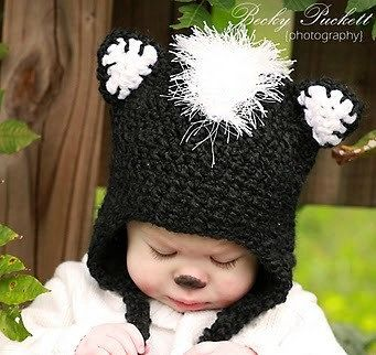 Skunk Hat    PROP or GIFT Newborn to 18 Month sizes by Bethanys5, $25.00